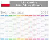 2015 Polish Planner Calendar with Vertical Months