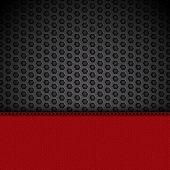 Red Leather Panel On Black Mesh Landscape