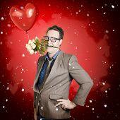 Romantic Valentine Man Holding Flowers On Date