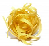 italian pasta portion isolated on white background closeup