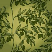 Seamless Monochrome Hand Drawn Background With Branches And Green Olives. Eps10