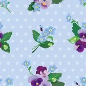 Seamless Pattern With Beautiful Flowers - Forget Me Not And Pansy - Floral  Background.