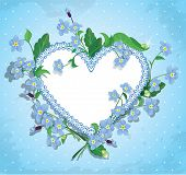 Bouquet Of Beautiful Forget Me Not Flowers And Lace Heart On Blue Polka Dot Background. Design  For