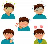 picture of high fever  - cartoon person having various symptoms of sickness - JPG