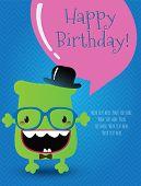 Hipster Monster Birthday Card. Vector Illustration
