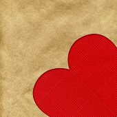 Big red heart on the background of kraft paper