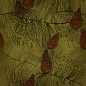 Seamless Hand Drawn Pattern With Pine Tree Branches And Cones. Eps10
