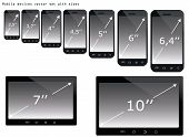 Mobile Devices Sizes Vector Illustration Set