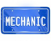 Mechanic word on a blue metal vanity license plate for a car or automobile to illustrate a repair sh
