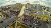 MOSCOW - OCT 20: View from unmanned quadrocopter to city panorama with Russian Academic Youth Theate