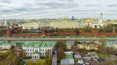 MOSCOW - OCT 26: View from unmanned quadrocopter to cityscape with Cathedral of the Dormition and Kr