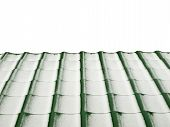 Metal Tile Roof In Winter Isolated On White Background