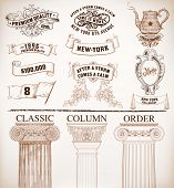 Vector. Set of retro elements: baroque frames, banners, retro labels, classic columns, flag, teapot.