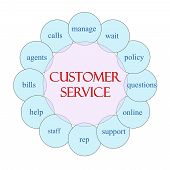 image of rep  - Customer Service concept circular diagram in pink and blue with great terms such as wait manage online rep and more - JPG