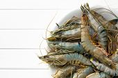stock photo of tiger prawn  - top view of tiger shrimps on plate - JPG