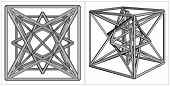 Geometric Creation Of Cube And Pyramid On Its Six Sides Vector