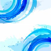 Blue. Abstract Vector Square Background With Brush Strokes And Watercolor Splashes.