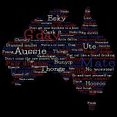 image of slang  - Australia Map Made From Australian Slang Words In Vector Format - JPG