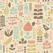 Vintage floral background with cute birds in vector. Seamless pattern can be used for wallpapers, pa