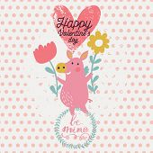 Cute funny pig with flowers in childish vector card. Romantic Valentines day background in pink colors