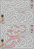 stock photo of hopscotch  - Girls playing hopscotch  - JPG