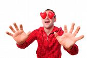 foto of blind man  - Man with red heart - JPG