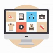 pic of electronic commerce  - Flat design modern vector illustration concept of designer portfolio website with various icons or online shopping web store for purchasing product via internet - JPG