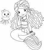stock photo of medusa  - Mermaid and her cute pet jellyfish - JPG