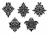 Set Of Five Different Foliate Arabesques