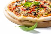 Delicious Pepperoni, Mushroom and Vegetable Pizza on a Cutting Board  Isolated on White