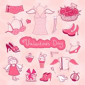 Set of female things for Valentine's Day