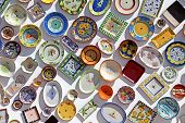 Plates Of Various Colors, Pasted On The Wall, Algarve, Portugal