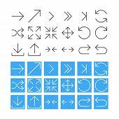 Thin Arrow Icon Set. Vector