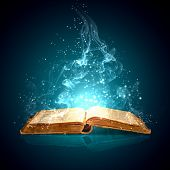 stock photo of mystical  - Image of opened magic book with magic lights - JPG