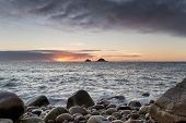 Sunset At Porth Nanven Cove