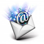 Email radiating with blue rays
