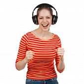 Woman Having Fun With Music Headphones
