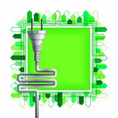 White Electricity Plug Over The Green Square With Buildings. Ecological Concept. Eps10