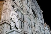 picture of alighieri  - statue of italian poet Dante in front of Santa Croce cathedral in Florence Italy - JPG