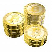 Three Stacks Of Bitcoins