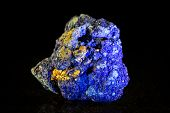 Azurite Mineral Stone In Front Of Black