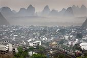 Top View Yangshuo, China, Town Of Karst Hills, Morning, Spring.