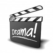 detailed illustration of a clapper board with drama term, symbol for film and video genre