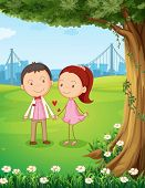 Illustration of a couple dating near the tree