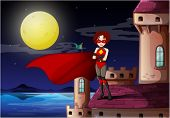 Illustration of a superhero standing above the castle