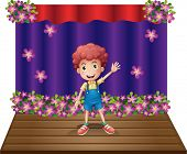 Illustration of a stage with a young boy waving happily on a white background