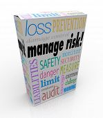 Manage Risk Words Product Box Reduce Liability Secure Safety