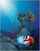 Illustration of a coral reef under the sea with a piranha