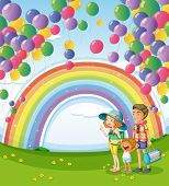 Illustration of a family strolling with a rainbow and floating balloons