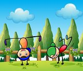 Illustration of the two stickmen playing near the pine trees